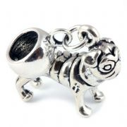 Pug Dog 3D Sterling Silver Dangle Charm / Carrier Bead